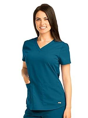 Grey's Anatomy Women's Two Pocket V-Neck Scrub Top with Shirring Back, Bahama Blue, Small