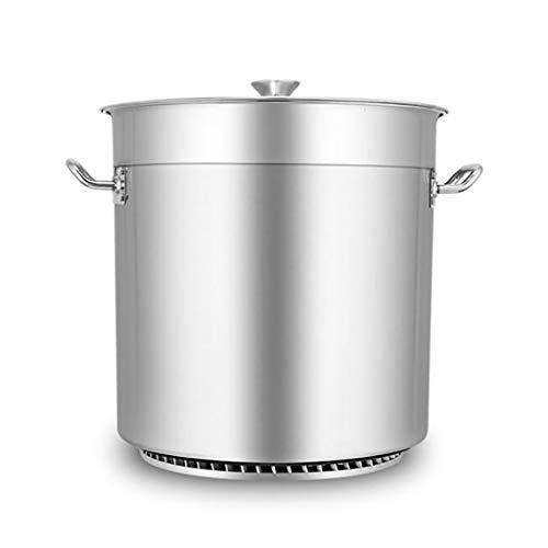 Heavy Acciaio Inossidabile della pentola con Coperchio Casseruola della Cucina della vaschetta pentola Pentola Pentole, SUS304 Food Grade, Sliver, 31,5 Centimetri (Size : 46.5 * 48cm)