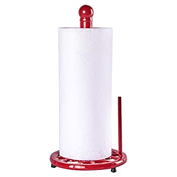 JOGREFUL Decorative Paper Towel Holder Stand Vintage Cast Iron Roll Paper Towel Stand Easy One-Handed Tear for Kitchen Countertop Bathroom Home Decor-Red