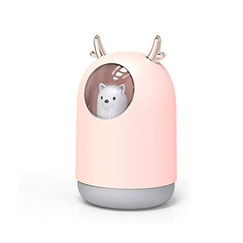 WZHZJ Humidificador, humidificador de Vapor frío portátil Mini USB humidificador de Aire 12 Horas con Led 7 Colores luz de la Noche for el Dormitorio Principal del Sitio del Cabrito (Color : Pink)