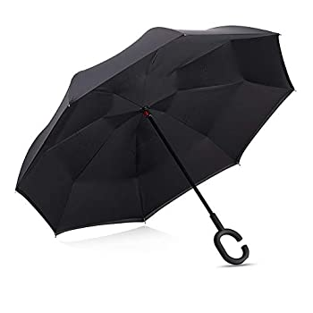 ABCCANOPY Inverted Umbrella,Double Layer Reverse Windproof Teflon Repellent Umbrella for Car and Outdoor Use UPF 50+ Big Stick Umbrella with C-Shaped Handle and Carrying Bag