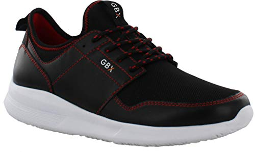 GBX Pace Casual Fashion & Athletic Mesh Running Sneakers for Men, Black/RED, 10 M US