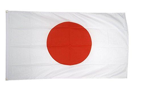 FahnenMax Drapeau Japon + GRATIS Stickers, Drapeau Fritze®, Hissflagge 90 x 150 cm