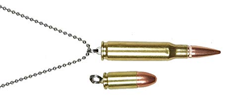 Bullet Jewelry, two pendants, one 223 Caliber, one 9mm, one steel ball chain