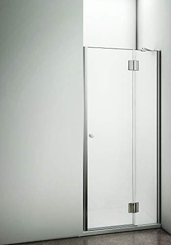 Aica Sanitär 80 x 190 cm Duschabtrennung Duschtür aus 8mm Milchglas Sicherheitsglas,Splitterschutzfolie