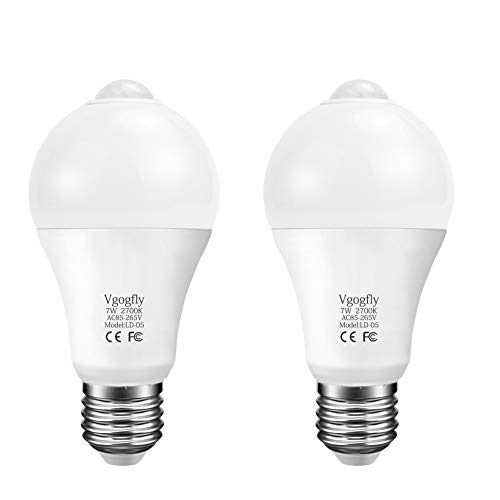 Motion Sensor Light Bulbs Dusk to Dawn PIR Built-in Motion Detector Smart Bulbs E26 Base A19 Indoor Outdoor LED Light Bulbs Security Night Lights 6W(Warm White 2 Pack)
