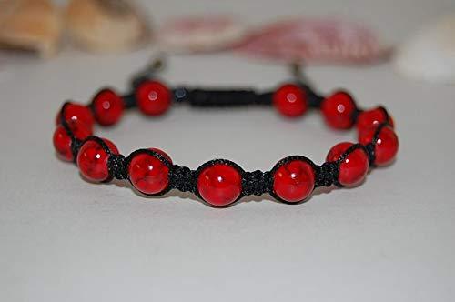 Coral rojo natural cuentas lisas de forma redonda de 8 mm enhebradas con pulsera de shamballa de hilo de color negro para hombres y mujeres. Regalo para él / ella, curación, prosperidad.