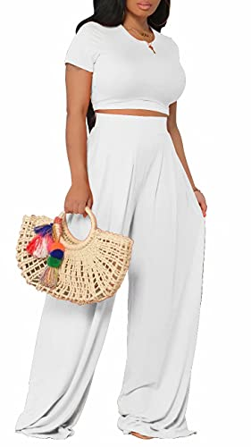 White Two Piece Outfits for Women Crop Tops and Wide Leg Pants Sets Track Suits