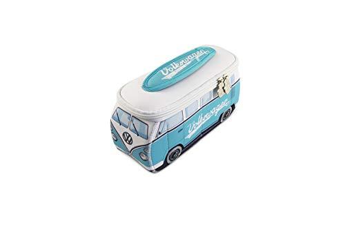 BRISA VW Collection - Volkswagen Combi Bus T1 Camper Van 3D Trousse de Maquillage en Néoprène, Sac à cosmétiques, Nécessaire de Toilette/Culture, Étui, Porte-Crayon, Universel (Blanc/Turquoise)
