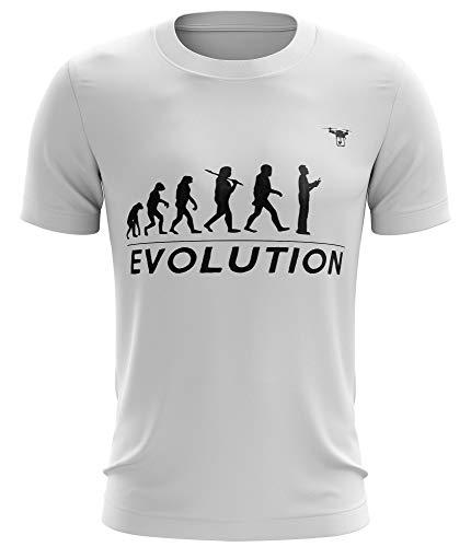 Stylotex Fitness T-Shirt Herren Sport Shirt Drone Evolution Gym Tshirts für Performance beim Training   Männer Kurzarm   Funktionelle Sport Bekleidung, Größe:M, Farbe:Weiss