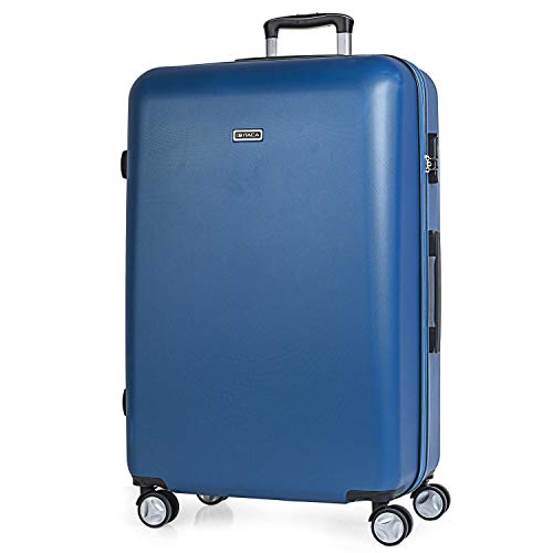 ITACA - Trolley Suitcase, 70 cm, Large Size, ABS. Rigid, Resistant, Robust and Light. Large Capacity. Telescopic Handle, 2 Retractable Handles, 4 Double Wheels T58070, Color Blue Jeans