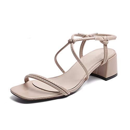 KPHY Retro - Square - Heels gedrukt sandalen zomer midden en wilde op het hoofd dikke zool Harold Wind enkele gesp schoenen cm