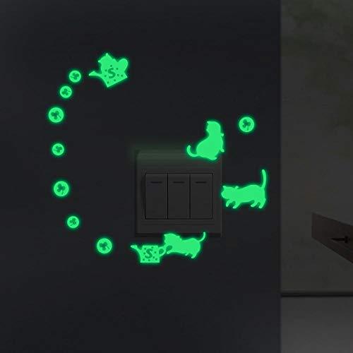 Pegatinas luminosas de pared de gato pegatinas DIY habitación de los niños dormitorio pegatinas de pared pegatinas decoración gato Y144