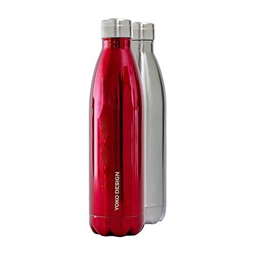 Yoko Design Bouteille Isotherme Double Paroi en Acier Inoxydable, sans BPA, Gourde réutilisable éco-responsable pour Eau, Sport, Enfant, Bureau, Voyage 260/500/750 mL
