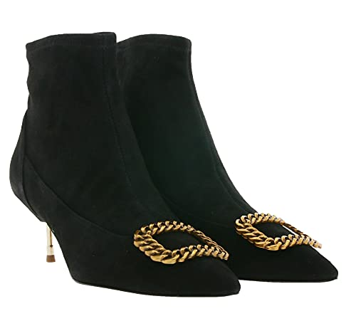 Kurt Geiger Bellevue Echtleder-Stiefeletten extravagante Damen Schuhe mit Schnalle Absatz-Schuhe Ausgeh-Schuhe Schwarz, Größe:39