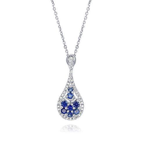 aion Diamant - Saphir Anhänger aus Weißgold 750 18K mit Kette - 0,71 Karat Blauer Saphir Brillantschliff 45 cm