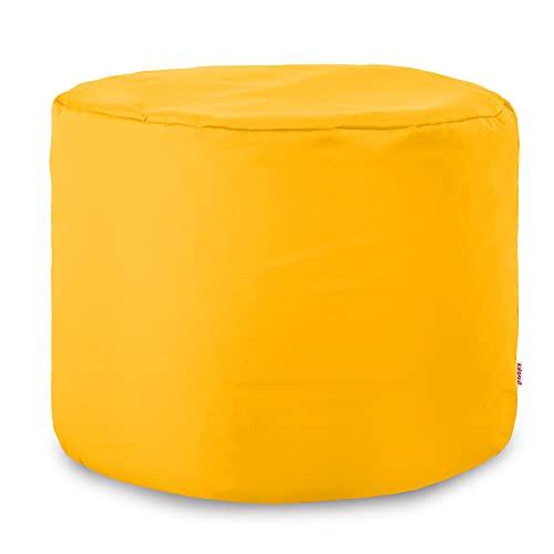Italpouf Pouf da Esterno Cilindro 40 Ø x 55 cm Pouf Sfoderabile! Pouf Impermeabile! Puff da Giardino Tessutto Nylon Pouf Imbottito! Puf Puff 24 Colori! (Giallo)