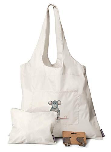 Schwimmbadtasche groß | 3er Set - Tasche + Kinderwagen Haken + Kosmetiktasche | Wasserdicht | Shopper mit eine süße Maus