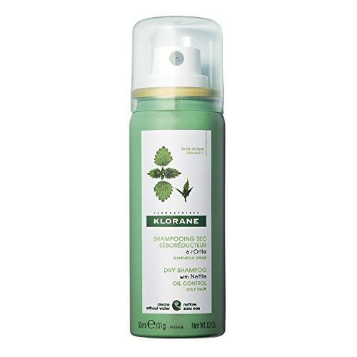 Klorane Dry Shampoo with Nettle for Oily Hair and Scalp, Regulates Oil Production, Paraben & Sulfate-Free, Travel Size, 1 oz.