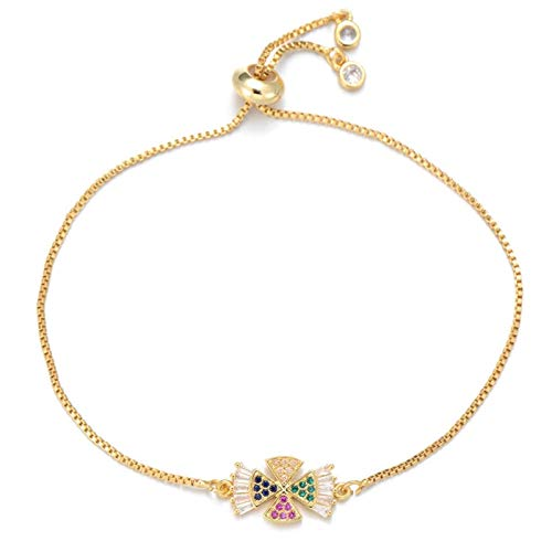 LKITYGF Exquisite Cross Bracelet Female Brand Jewelry Gift Copper Multicolor Cubic Zirconia Slip Chain Charm Bracelet (Color : Gold)