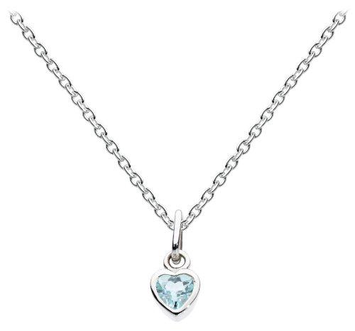 Dew - Cadena con colgante de corazon de plata con topacio azul