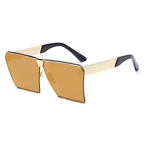DGSDFGAH Gafas De Sol Mujer Gafas De Sol Polarizadas para Hombres/Mujeres Retro Moda Unisex Gafas De Sol Oversize Vintage Brown