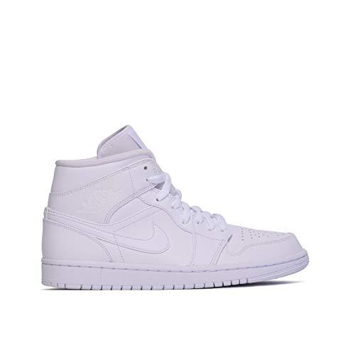 Nike Air Jordan 1 Mid, Scarpe da Basket Uomo, Bianco (WhiteWhiteWhite 129), 43 EU