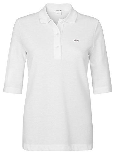 Lacoste PF0088 Klassisches Damen Polo, Polohemd, Polosshirt mit 3/4 Arm, Kurzarm. Regular Fit, für Freizeit und Sport, 100% Baumwolle Weiß (White 001), EU 46