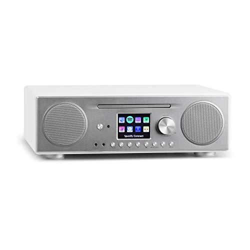 auna Connect CD Kompaktanlage - Internetradio, Digitalradio, WLAN, DAB+, UKW-Tuner mit RDS, Bluetooth, Spotify Connect, AUX, 10 Senderspeicherplätze, CD Player, USB, Farbdisplay, weiß