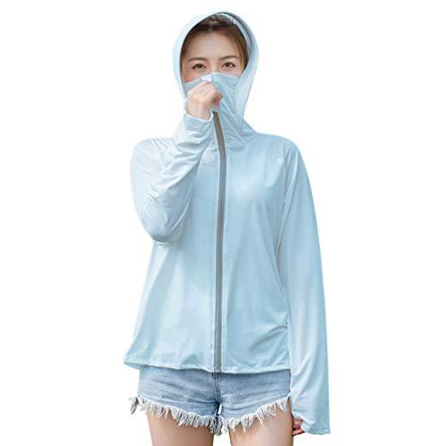 PRETYZOOM Frauen Sonnenschutzjacke Kapuze UV-Schutz Langarm Mantel Schnelltrocknende Reißverschlussjacke Sommer Outdoor Wandern Reitkleidung für Mädchen Frauen (Himmelblau)