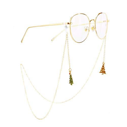 BHDCH Catena di Occhiali Regalo della Catena Occhiali Ciondolo Albero Occhiali Catena in Metallo Occhiali Corda Dorata di Natale Adatto per vetri Vari (Colore : Gold)