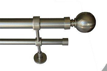 Vorhang Stangen Set Kugel Doppel Bar Standard Largo 4 m. Edelstahl