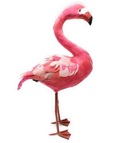 Objet de décoration flamant rose - Dimensions : 12 x 45 cm (l x h) - Figurine décorative avec de véritables plumes