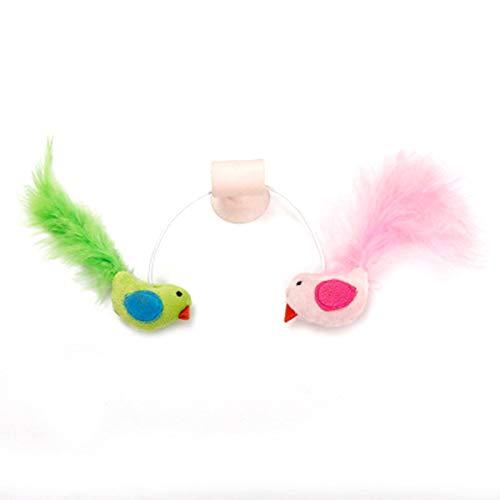 Samseed Katzenspielzeug mit Federn, Fenstersauger, für künstliche Vögel, Kratzer, Spielzeug, Katzen, Federn, Wandbefestigung Rose