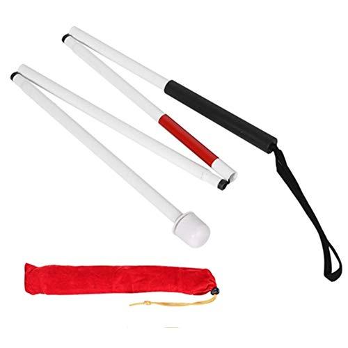 Bastón ciego, bastón plegable de aleación de aluminio con 4 secciones de 127 cm para ciegos