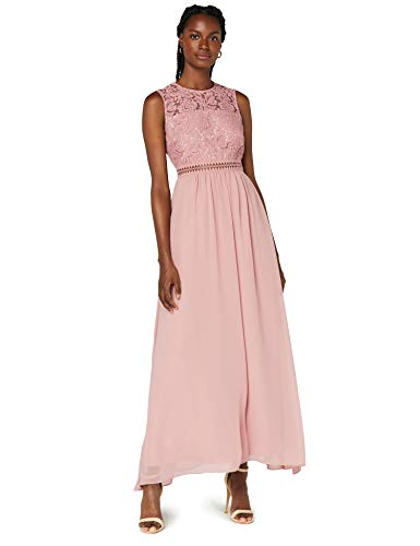 Amazon-Marke: TRUTH & FABLE Damen Maxi-Spitzenkleid, Rosa (Nostalgie Rose), 38, Label:M