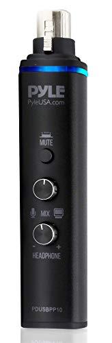Pyle PDUSBPP10 Mikrofon-Adapter XLR-auf-USB-Signal-Adapter für digitale Aufnahmen mit Mix-Audio-Steuerung, +48 V Phantomspeisung, Kopfhörer-Lautstärke, USB-Kabel