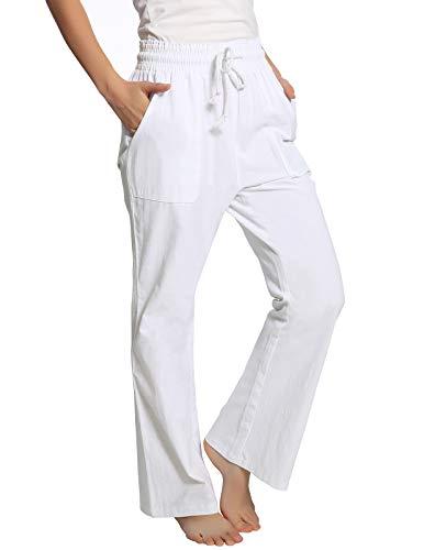 ANGGREK Damen Leinenhose Leicht Loose Einfarbig Sommerhose Lang Mit Kordelzug Weiß