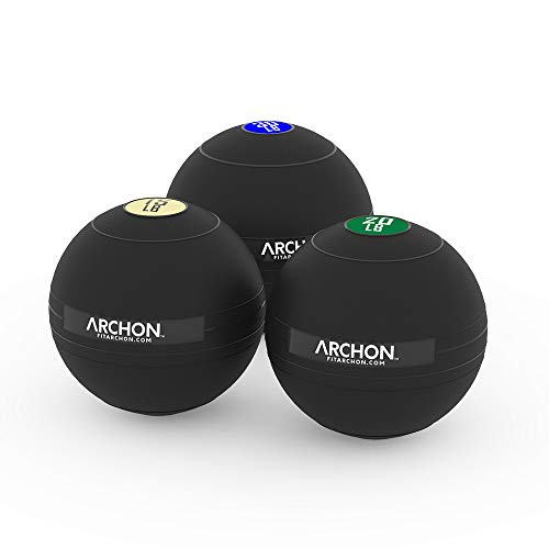 ARCHON Training 15 LB, 20 LB, and 30 LB Pound Slam Ball Set | Crossfit Workout | No Bounce Exercise Ball | Gym Equipment Accessories | Plyometric Exercise | Cardio | Jam Ball | Squats | Medicine Ball