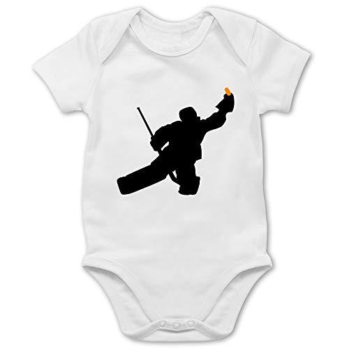 Sport Baby - Towart Eishockey Eishockeytorwart - 1/3 Monate - Weiß - Baby Body Eishockey - BZ10 - Baby Body Kurzarm für Jungen und Mädchen