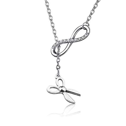 WENATA Hairdresser Gift Hair Stylist Necklace Hair Dryer Comb Scissors Charm Necklace Hair Stylist Jewelry Hairdresser Hair Stylist Graduation Gift (Scissors NRE)