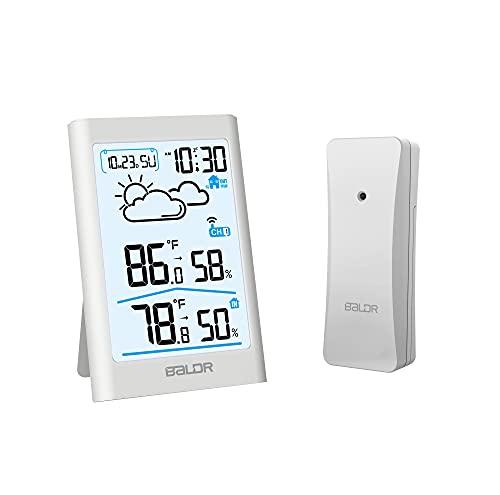 BALDR - Termómetro e higrómetro Digital para Interiores y Exteriores, con retroiluminación Blanca, estación meteorológica...