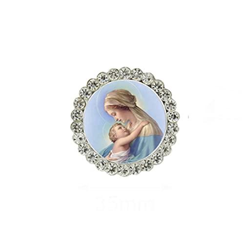 2017 nuevos broches de la Virgen María, broche de cristal para madre de bebé, broche de cristal redondo, broche religioso cristiano