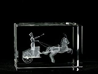 Asfour Crystal 1159-70-08 2 L x 2. 75 H x 2 W inch Crystal Laser-Engraved Ramses Chariot Ancient Egypt Laser-Cut