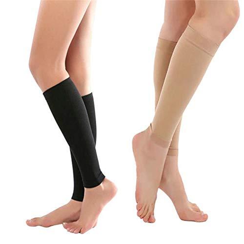 EROSPA® Kompressions-Sleeve Beinstulpen Laufstrümpfe – Waden Kompressionsstrümpfe – Laufen, Joggen, Radfahren – 1 Paar (Beige) - 3