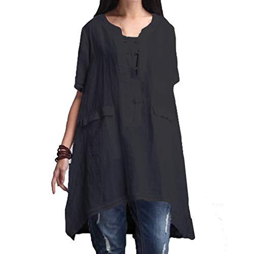 Mujer Tunicas Talla Grande Anchos Casuales Color Sólido Blusas Shirt Verano Outdoor Confortable Elegantes Vintage Moda Manga Corta Cuello Redondo Irregularmente Asimetricas Camisetas Camisas Señoras