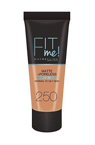 Maybelline New-York - Fond de Teint Fluide Fit Me Matte & Poreless - Peaux normales à grasses - teinte : 250 Beige Ensoleillé - 30 ml