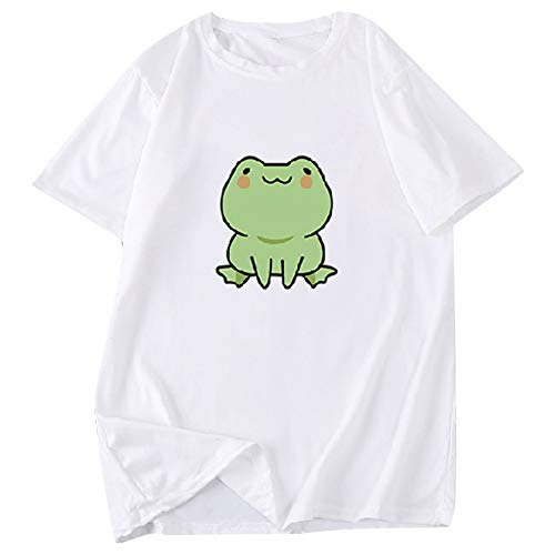 OutTop Cute T Shirts Women Funny Skateboarding Frog Tees Casual Short Sleeve Crewneck Comfy Graphic Blouse Tops Tunic (White, M)