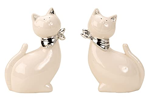Figurine de décoration de Sculpture de Chat Moderne avec écharpe argentée en céramique Blanche /...