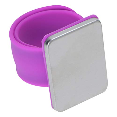 MILISTEN Magnetic Pin Holder for Sewing Wrist Pin Cushion Magnetic Pincushion Quilting Supplies Quilters Slap Bracelet Silicone Wristband Purple
